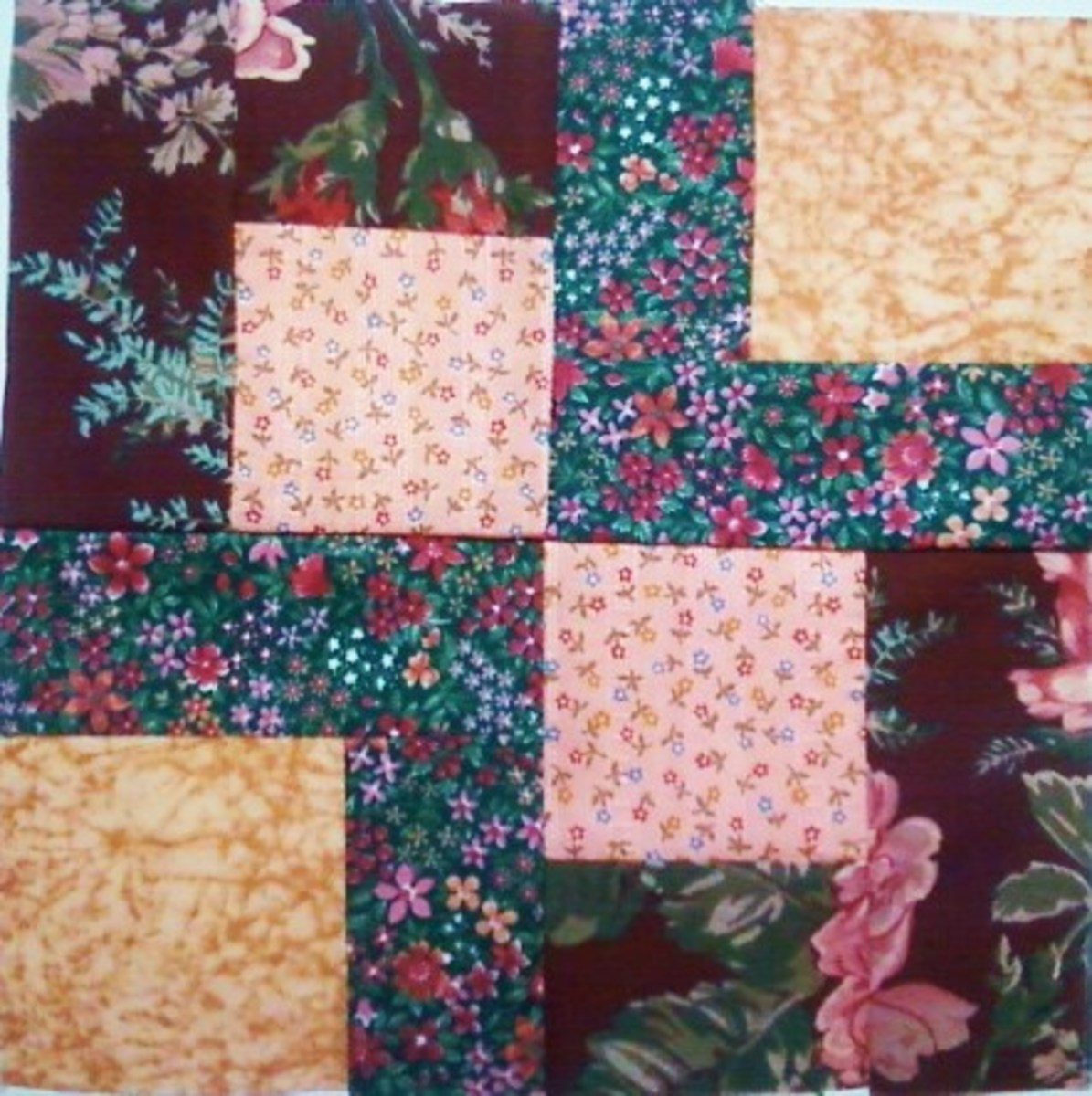 The Patience Corner Block Using Four Fabrics