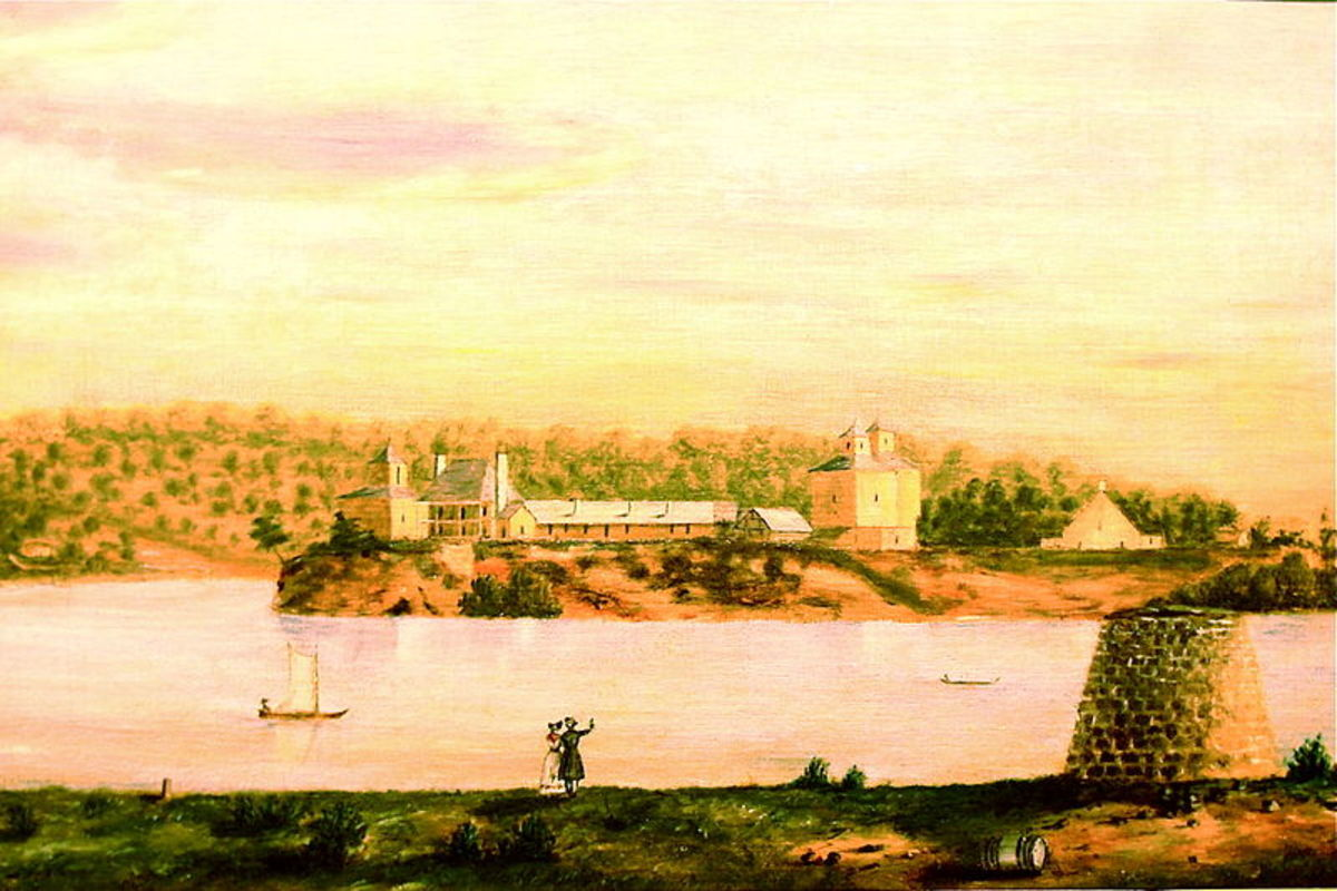 "Fort Armstrong in about 1839 - now home of the Rock Island Arsenal - a few miles north of Mercer County ""This photograph of an old painting of Fort Armstrong is one of the only clear pictures of the Quad Cities during the 1800's."""