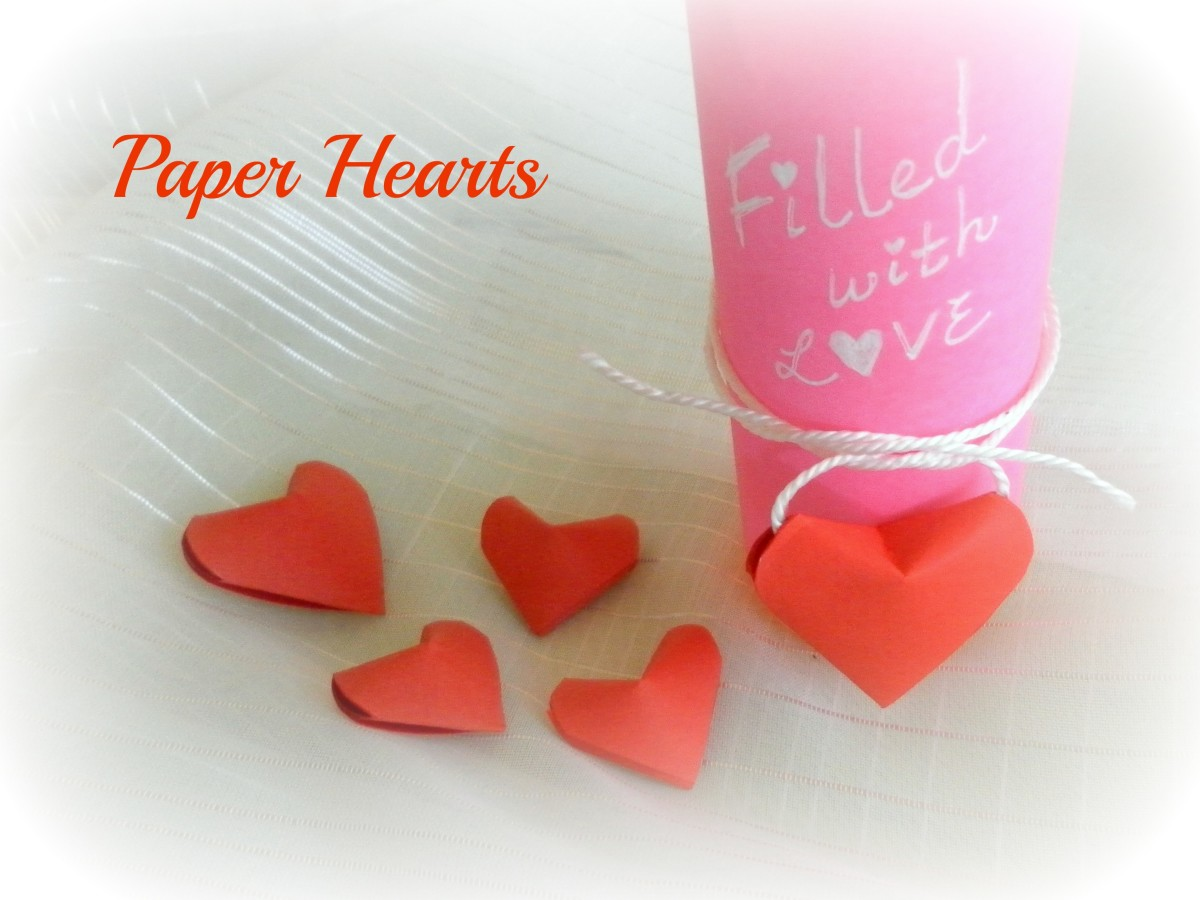 Paper Strip Folding and Origami - How to Make 3D Paper Hearts
