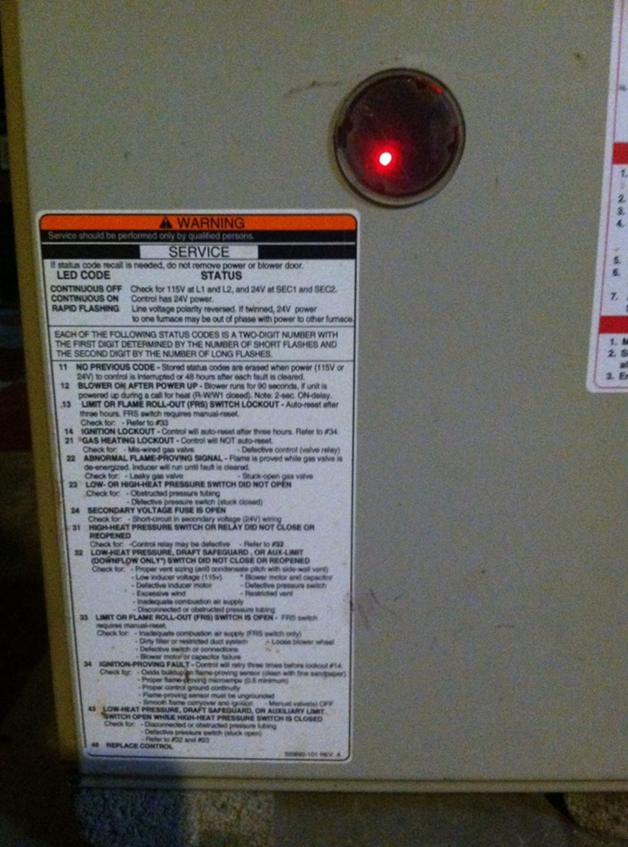 Furnace code light and chart location