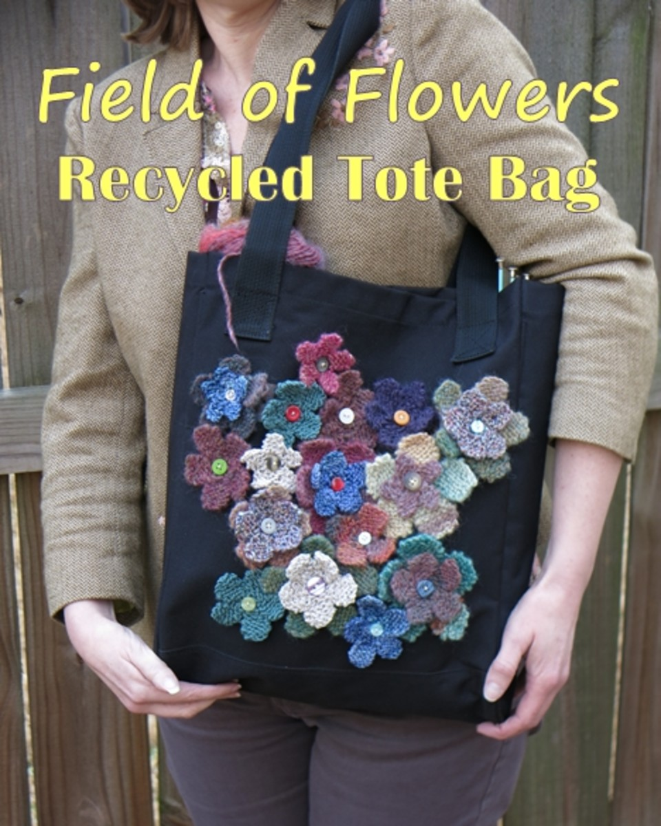 Free Knitting Pattern:  Knit a Field of Flowers to Decorate and Recycle a Tote Bag
