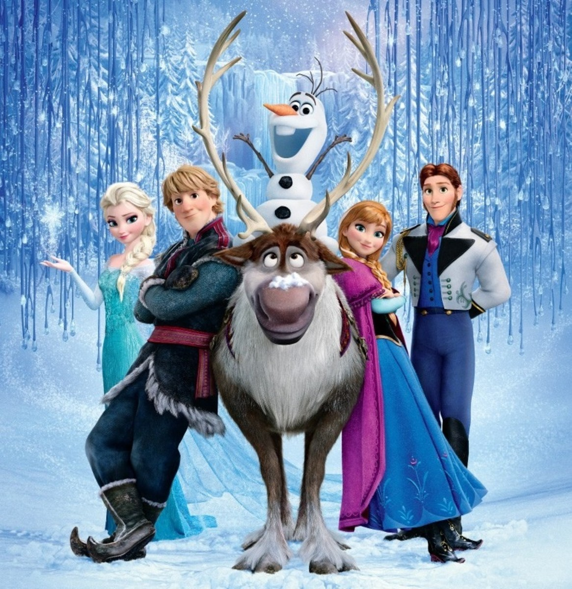 "The main cast of characters, complete with a reindeer version of Maximus from ""Tangled"", a literal bigheaded snowman cashing in on goofy humor, two female look-a-likes, and two male look-a-likes. Seriously, compare those faces..."