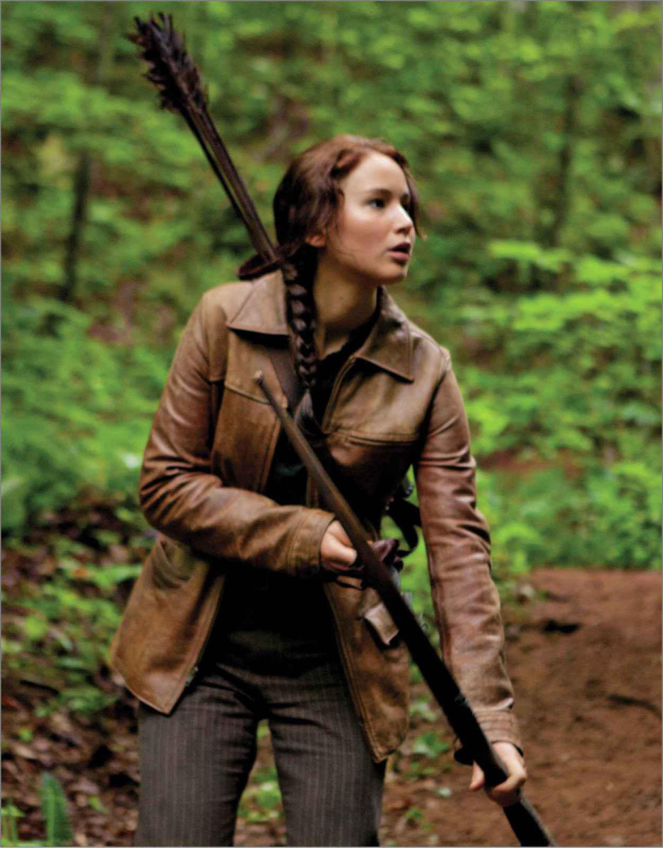 Katniss Everdeen Hunting in the Woods outside District Twelve.