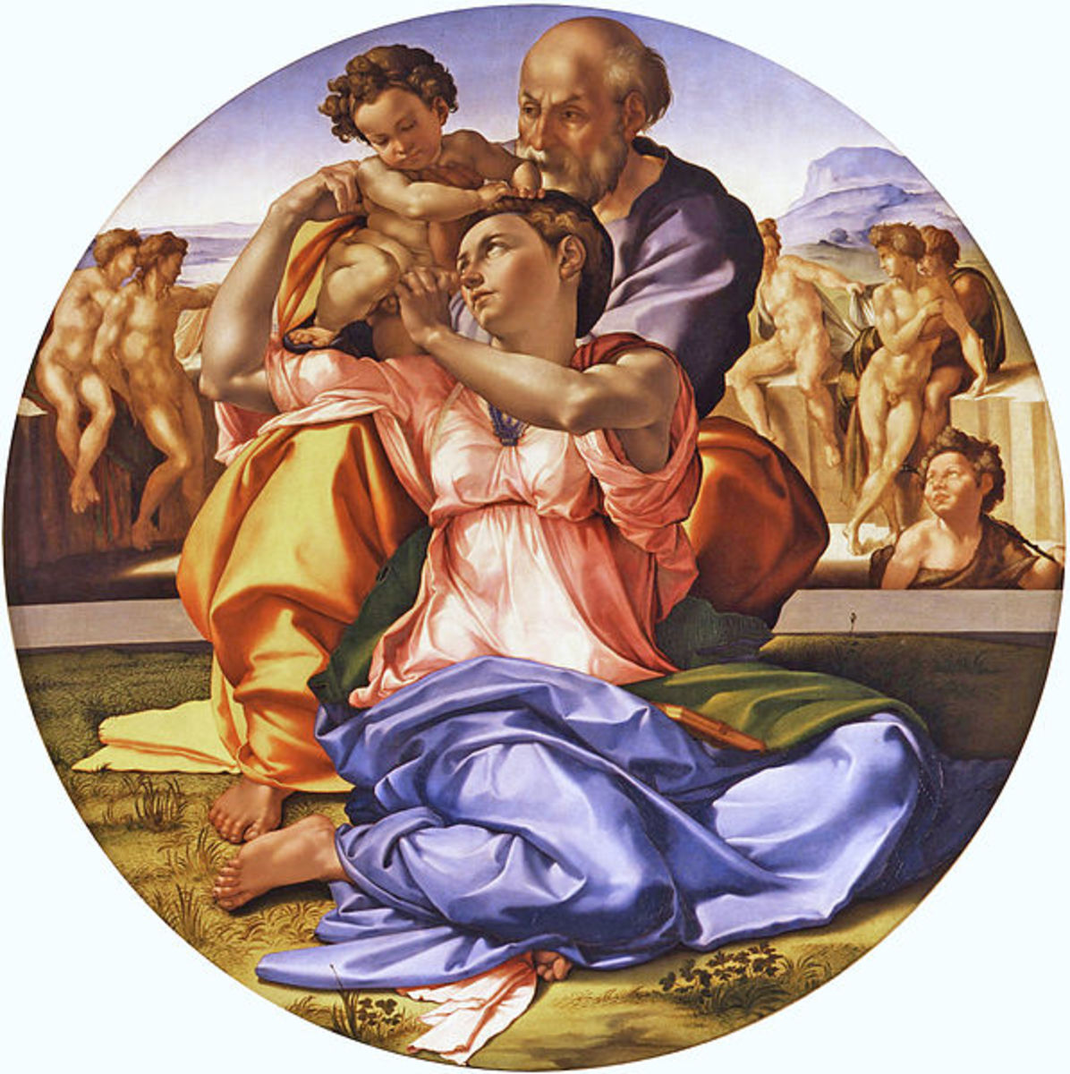 Michelangelo, the Holy Family, known as Doni Tondo (a. 1507), Florence Uffizi - Size: diameter 120 cm (47.24 in), 172 cm (67.72 in) with frame
