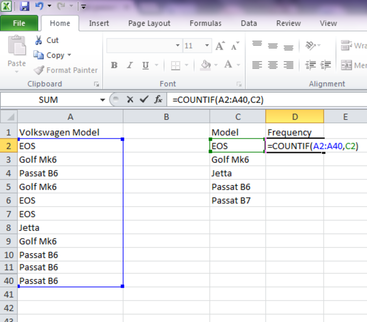 To get the relative distribution of each item in a list, use Excel's COUNTIF() function.