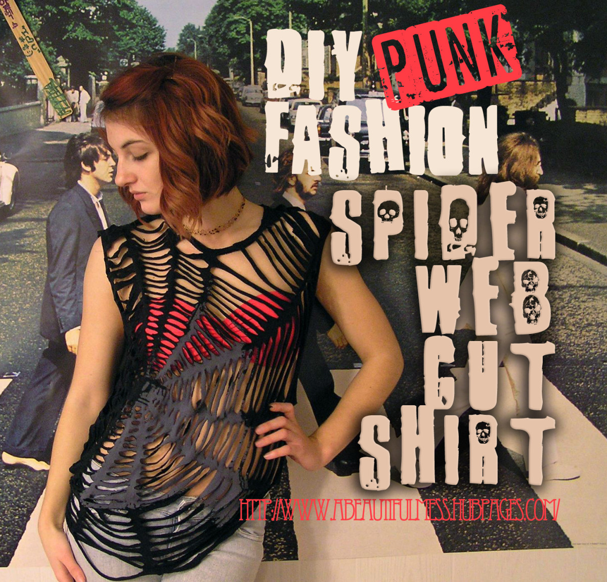 Diy punk fashion spider web cut shirt bellatory for Website where you can design your own shirt