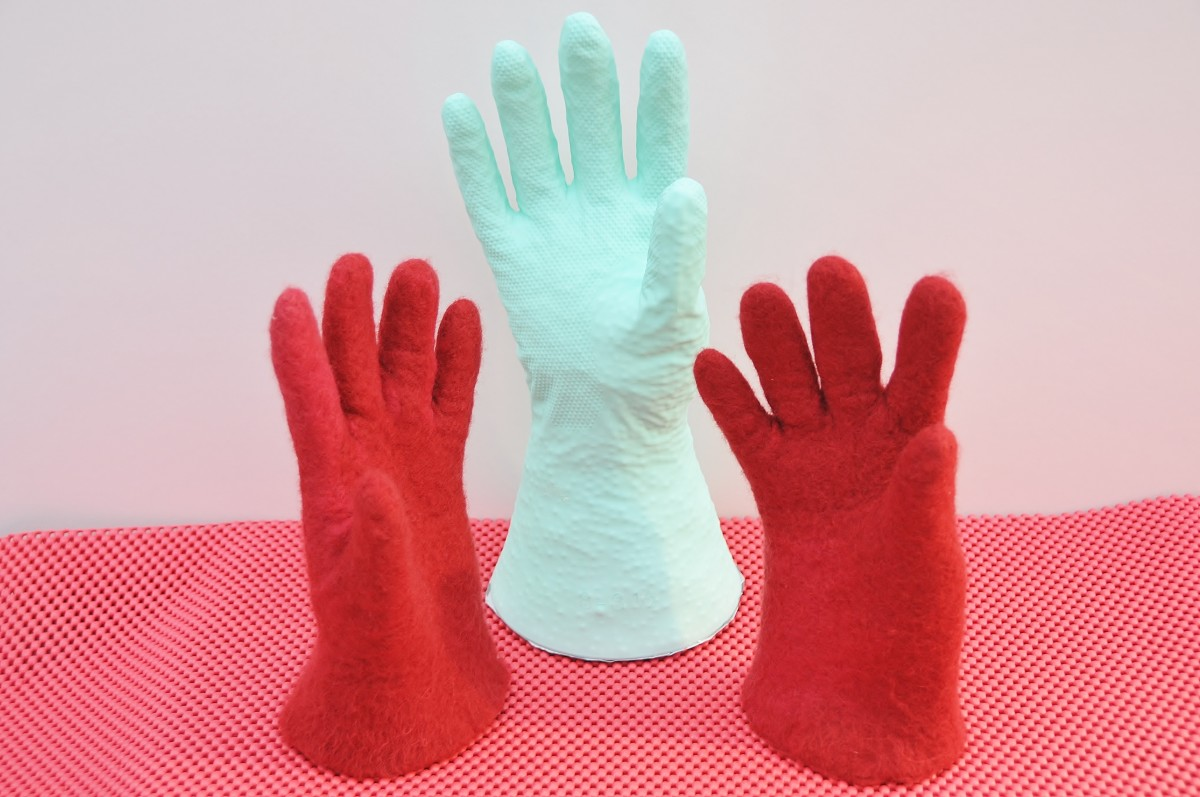Wet felted gloves lovingly handcrafted by Sallybea.