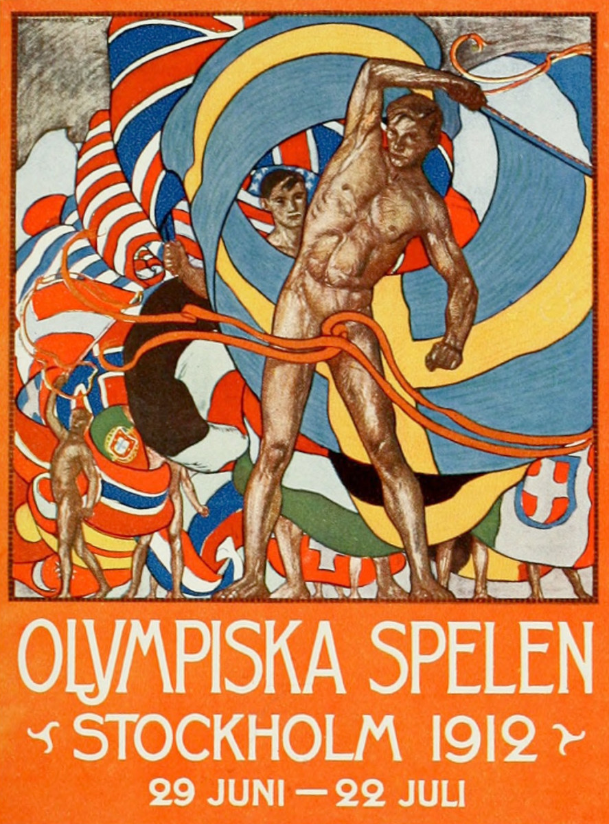 Poster for the 1912 Summer Olympics, designed by Olle Hjortzberg Host city	Stockholm, Sweden