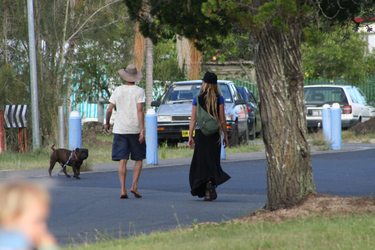 Bare feet or dreadlocks, makes no difference. A hat goes with everything in Byron Bay. :)