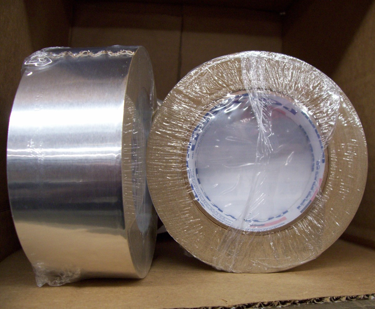 Rolls of foil tape. Duct tape can be used, but this tape has taken over the HVAC industry. It is easily torn, but makes a better, longer-lasting seal.