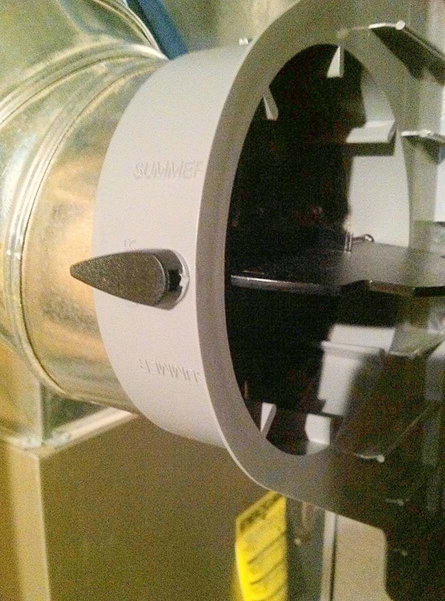 """Install the 6"""" elbow to the casing. Be sure the bypass damper can swing."""