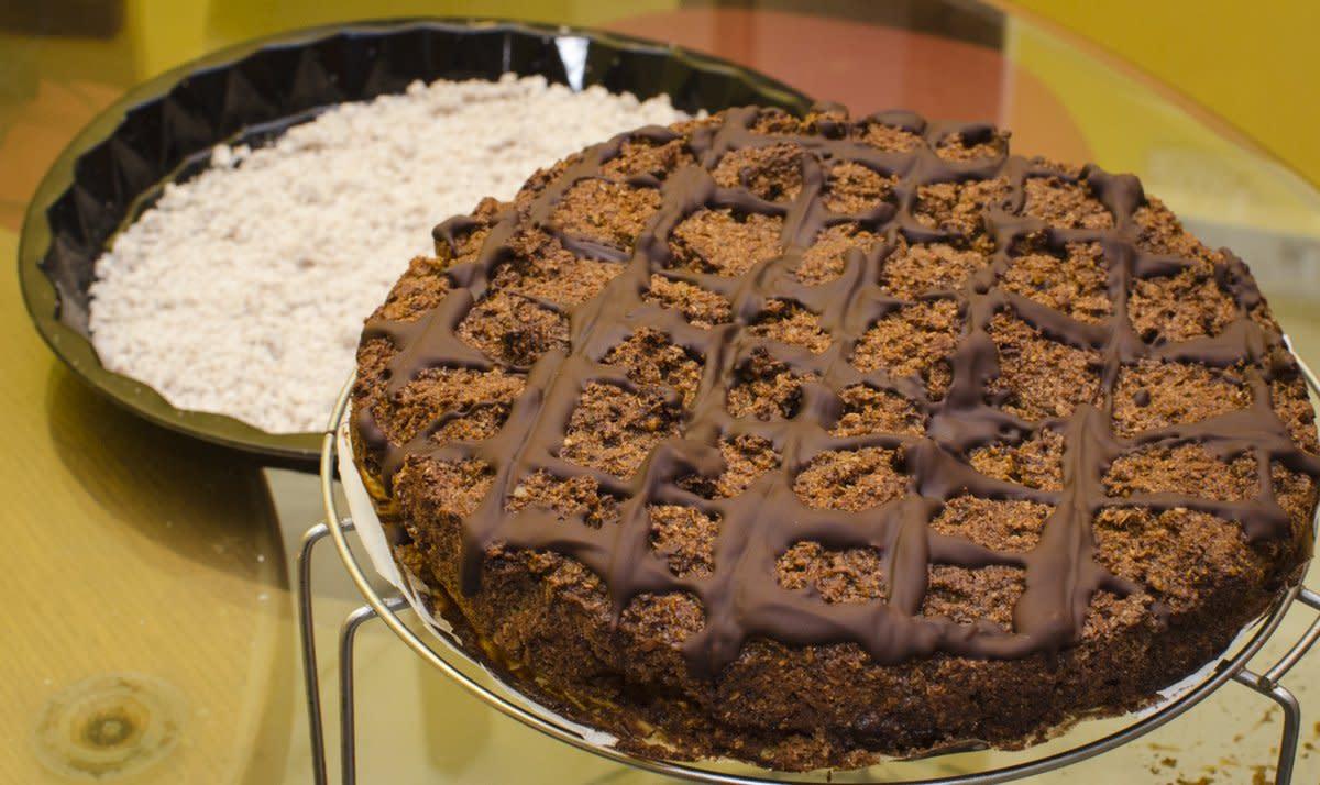 The completed hazelnut chocolate cake.