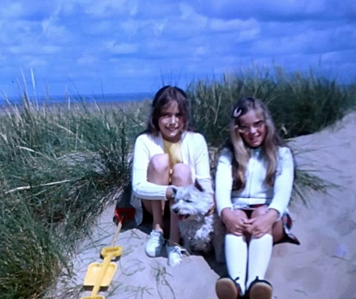 Me as a child (on the left) with my cousin and my much-loved dog Mitzie, a West Highland Terrier and my companion since I was one year old. Wherever I went, Mitzie went too, including on days out to the beach, as in this photo.