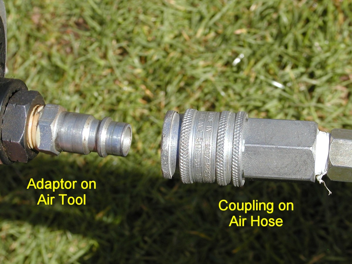 """Quick release push fit connectors on an air hose and air tool.The male part is generally called a """"bayonet"""" and the female part a """"coupling"""". Air hoses can also be permanently attached to tools using screwed fittings."""
