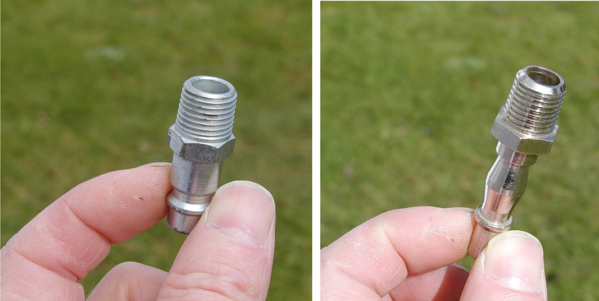 Two different types of male bayonet adaptors. The one on the left is recommended as it has a larger internal diameter and results in less pressure drop when used with tools that require a high flow rate.