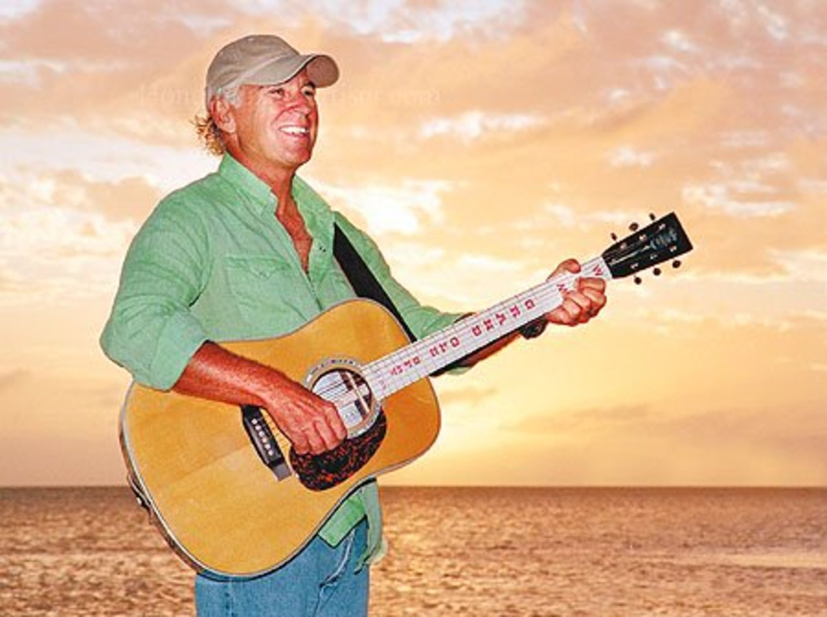 Jimmy Buffett with one of his many Martin Guitars. Beach side Buffett - just as things should be.