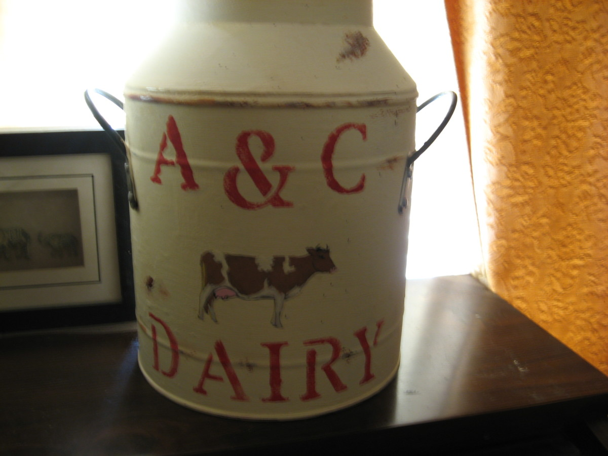 Chalk paint sticks to practically any surface, including this metal milk pail.