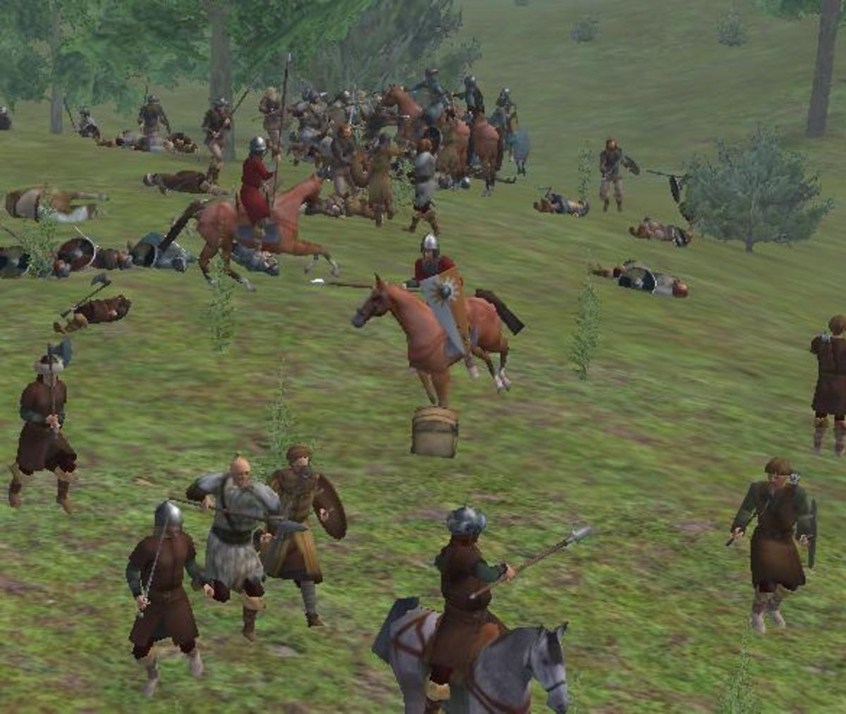 A chaotic battlefield - cavalry fight amongst a horde of bandits