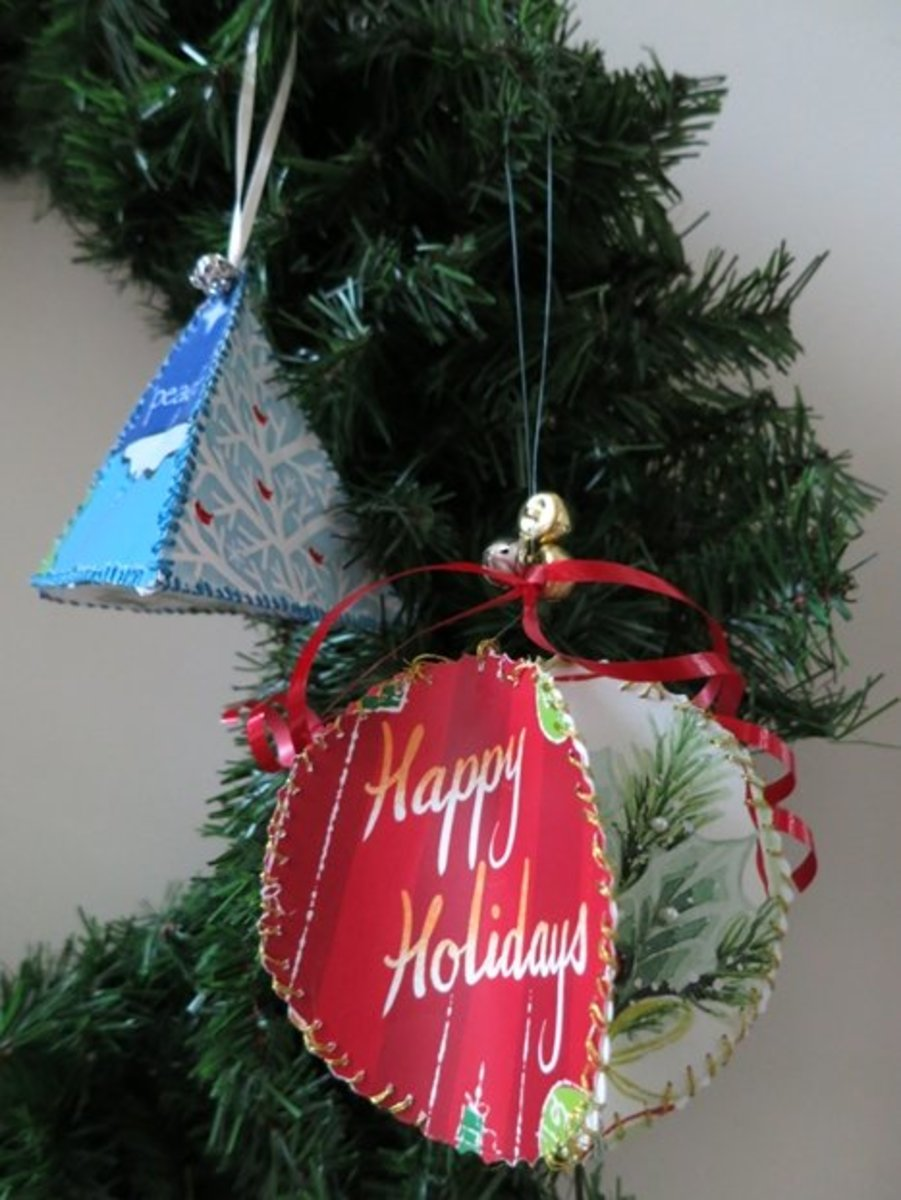 Christmas ornaments made from recycled cards