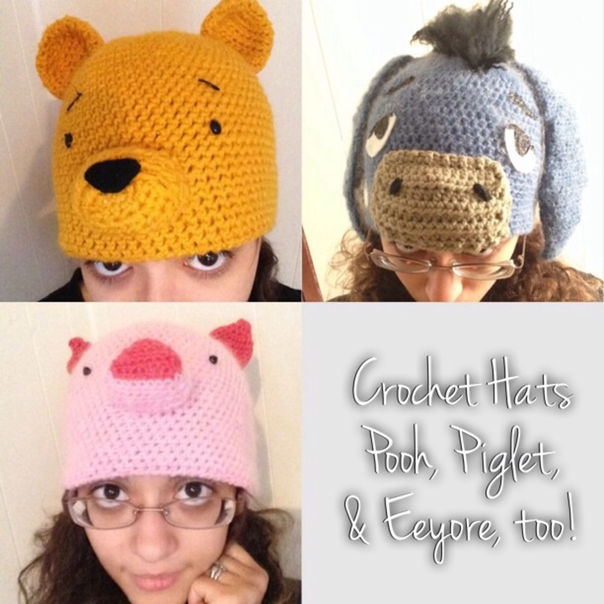 Crochet Hat Patterns: Winnie the Pooh, Piglet, and Eeyore