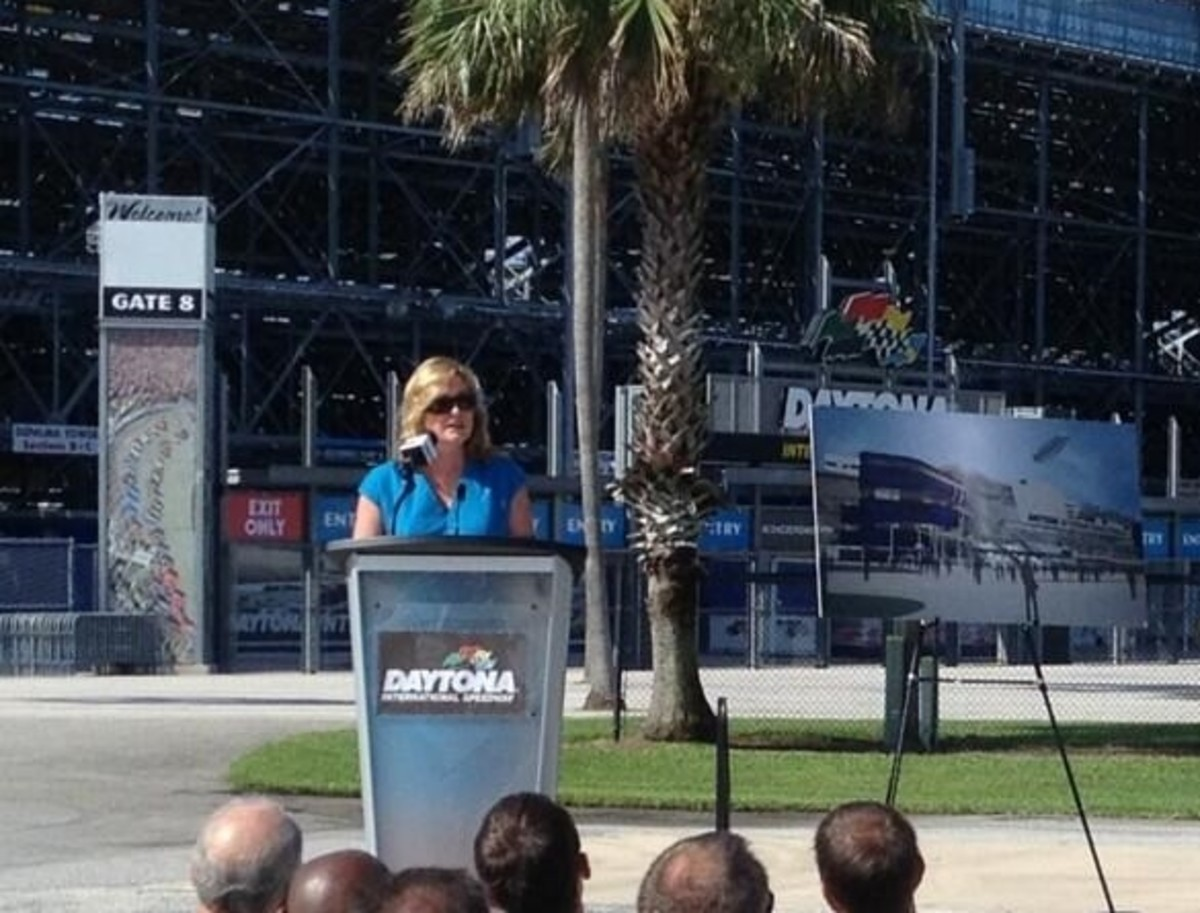 ISC CEO Lesa France Kennedy, announcing major changes to the Daytona track designed to draw more fans to the race