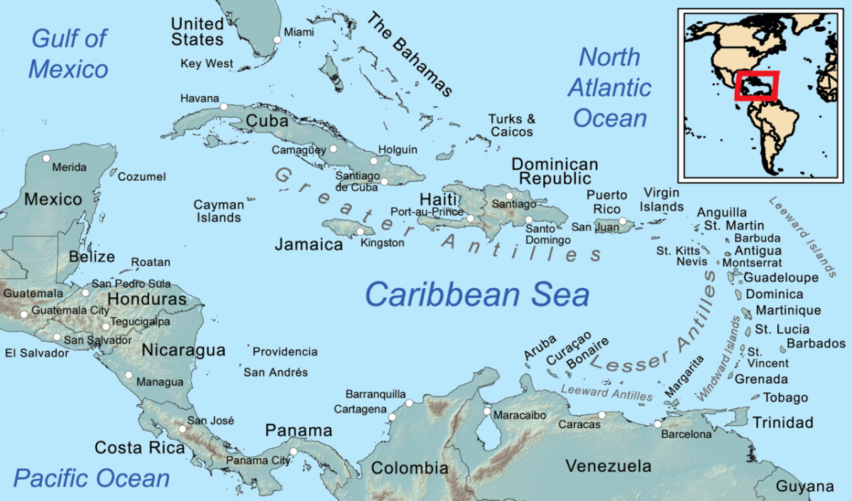 Caribbean Map showing the Leeward Islands to the far right