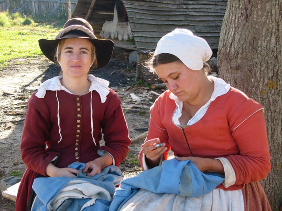 Traditional, colorful clothing at Plimoth Plantation, Massachusetts.