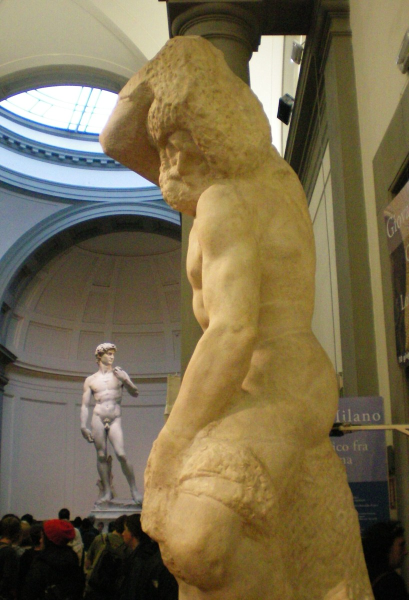 Michelangelo's counterpoint of rough stone against the tension of the male torso © A Harrison
