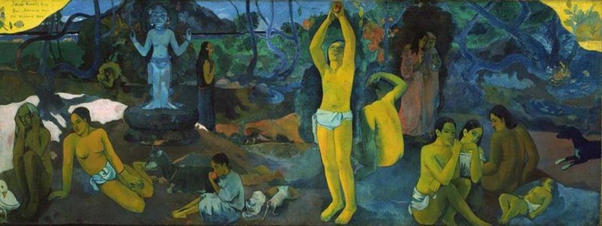 """Where Do We Come From?  What Are We?  Where Are We Going?"" (1897)  Boston Museum of Fine Arts.  Paul Gauguin's masterpiece painting."