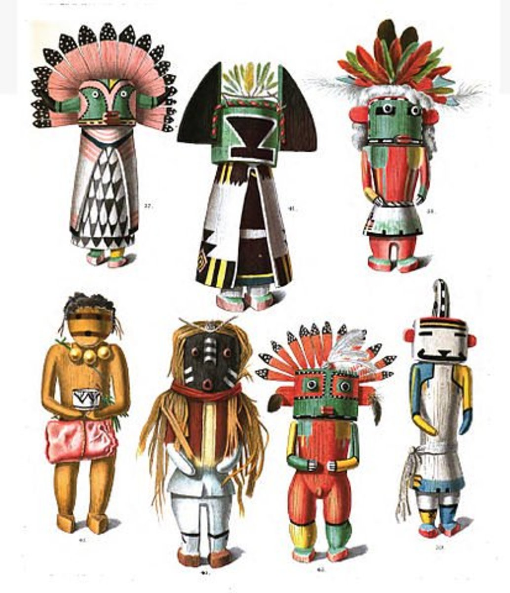 Drawings of kachina dolls, from an 1894 anthropology book, by Jesse Walter Fewkes. The Hopi call them Katsinas. They are the most important part of the sacred ceremonies.