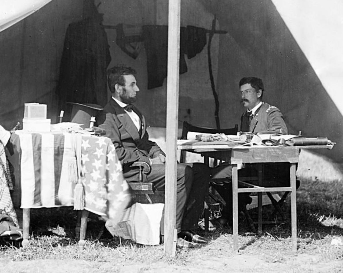 President Lincoln meeting Gen. McClellan at Antietam, 1862