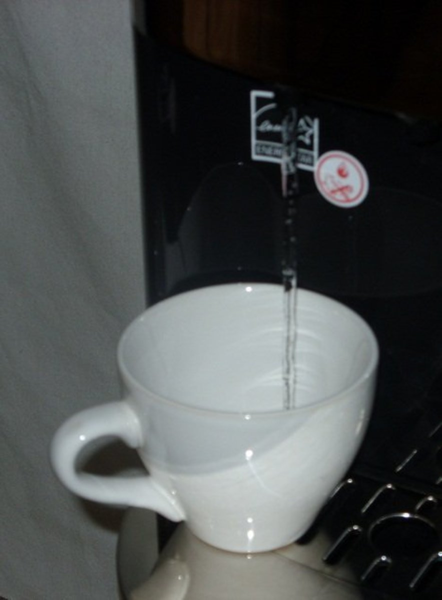 The Primo water dispenser, dispensing hot water.