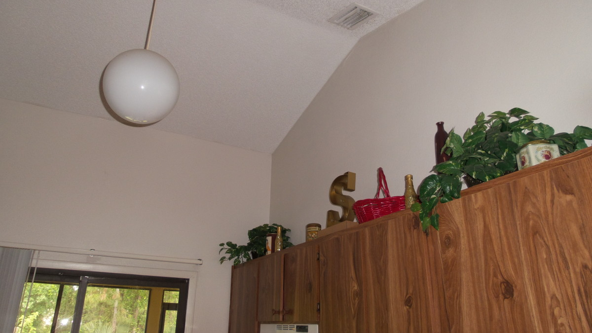 High, vaulted ceilings in my kitchen make cleaning the walls and ceilings interesting.  Photo by AMB