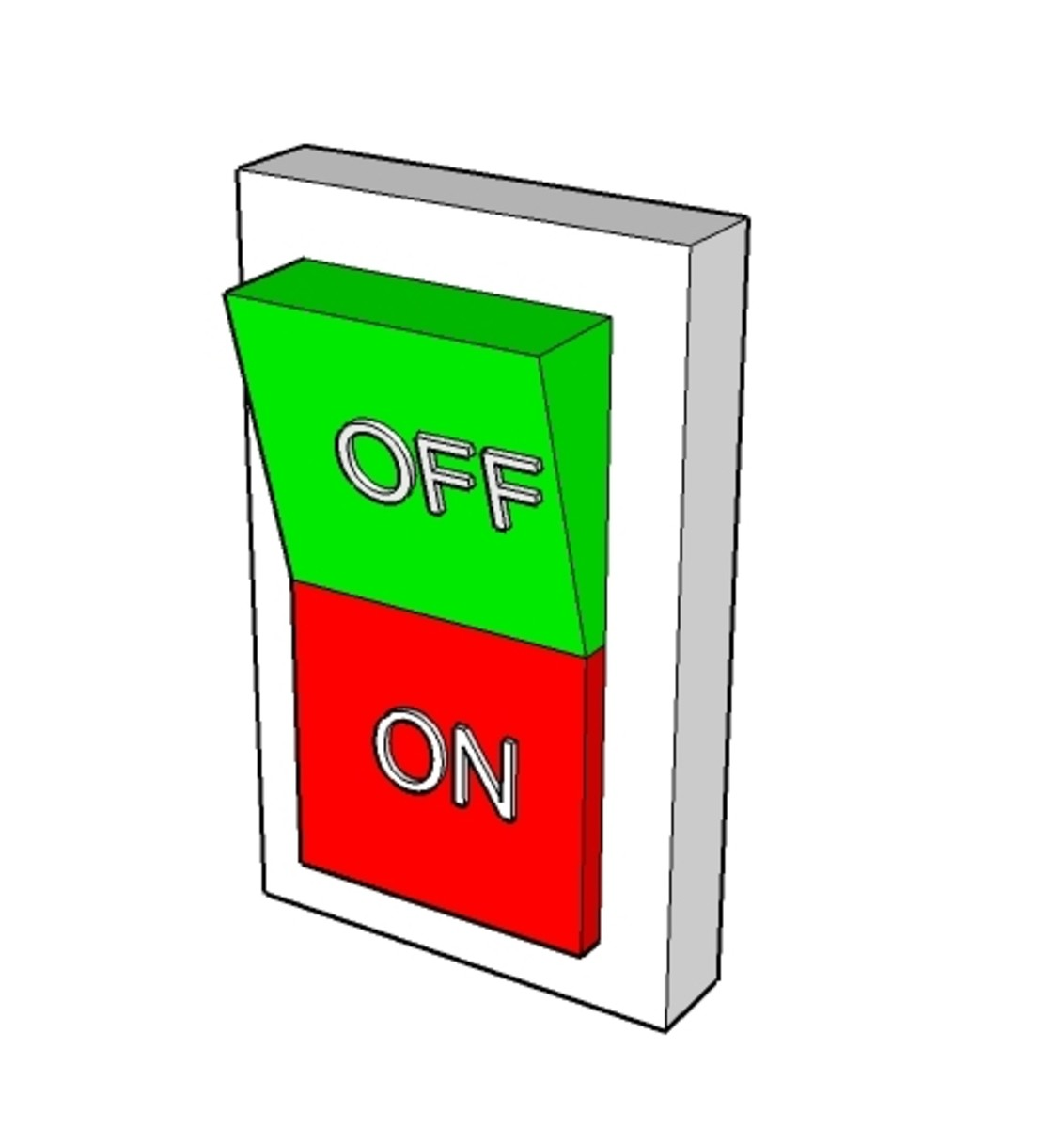 A 3D image of a switch designed in Google Sketchup