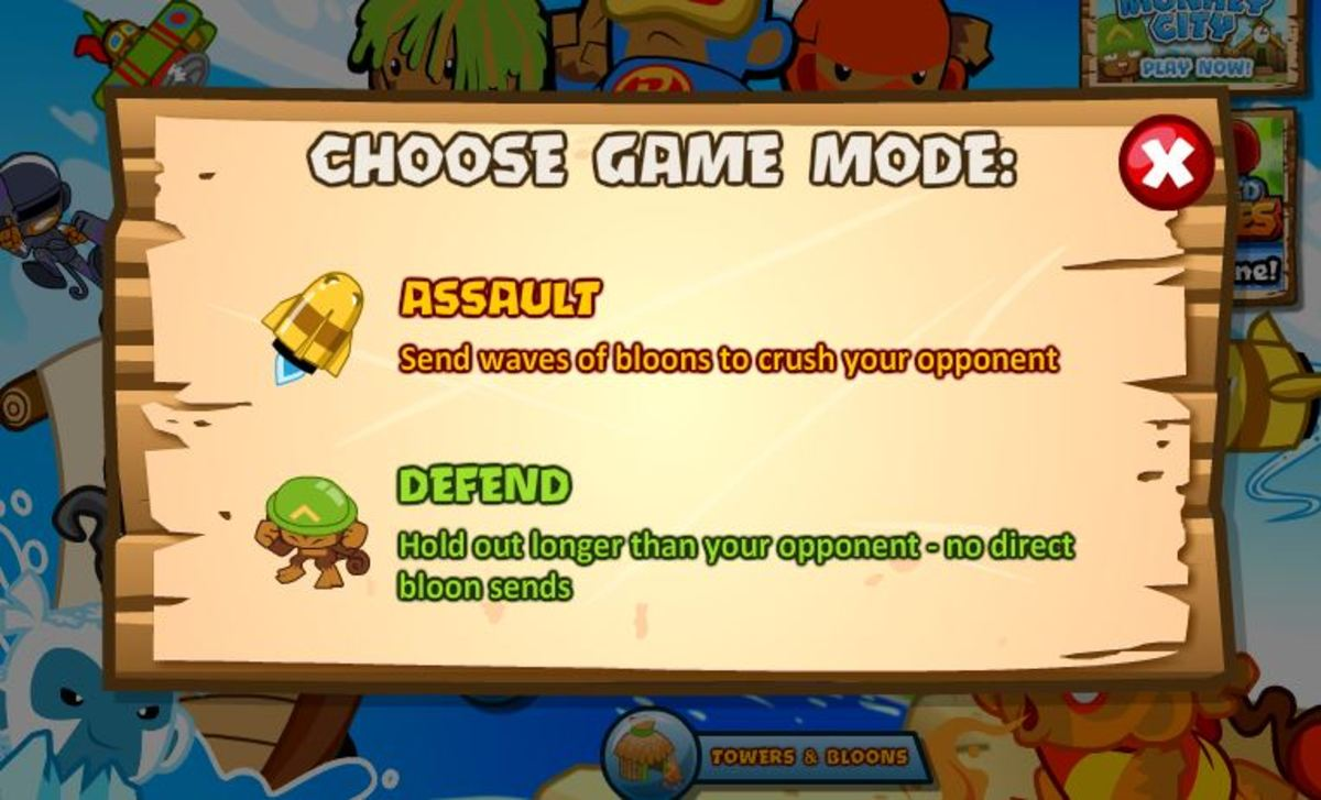 A player choosing between Assault or Defend.