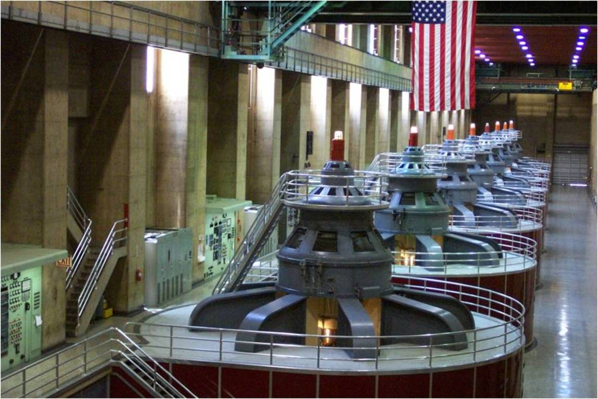 The Hoover Dam turns the rotors of these generators using water flowing from the dam. This generates power for many cities.