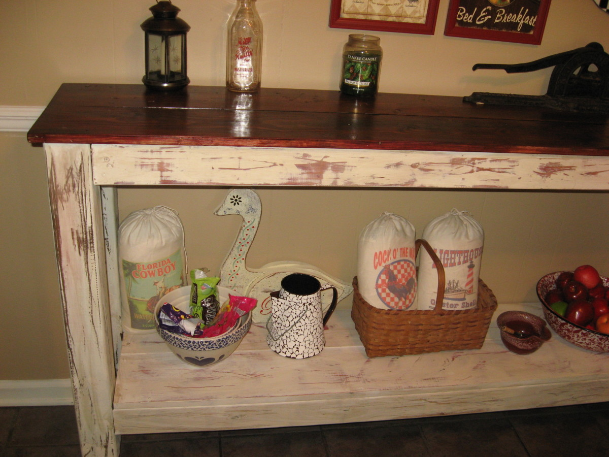 Hubby built this sideboard, and I painted, stained, and distressed it.