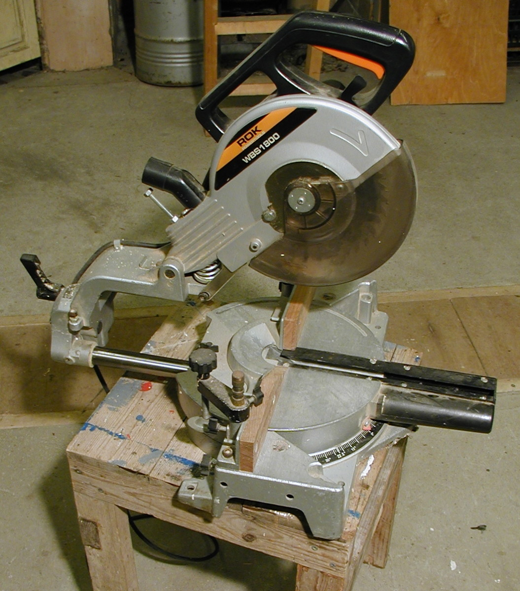 A mitre saw can make 90 degree square, and angled (mitred) cuts in timber.