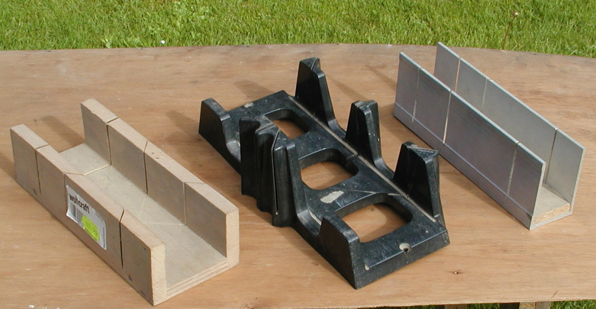 Various types of miter boxes