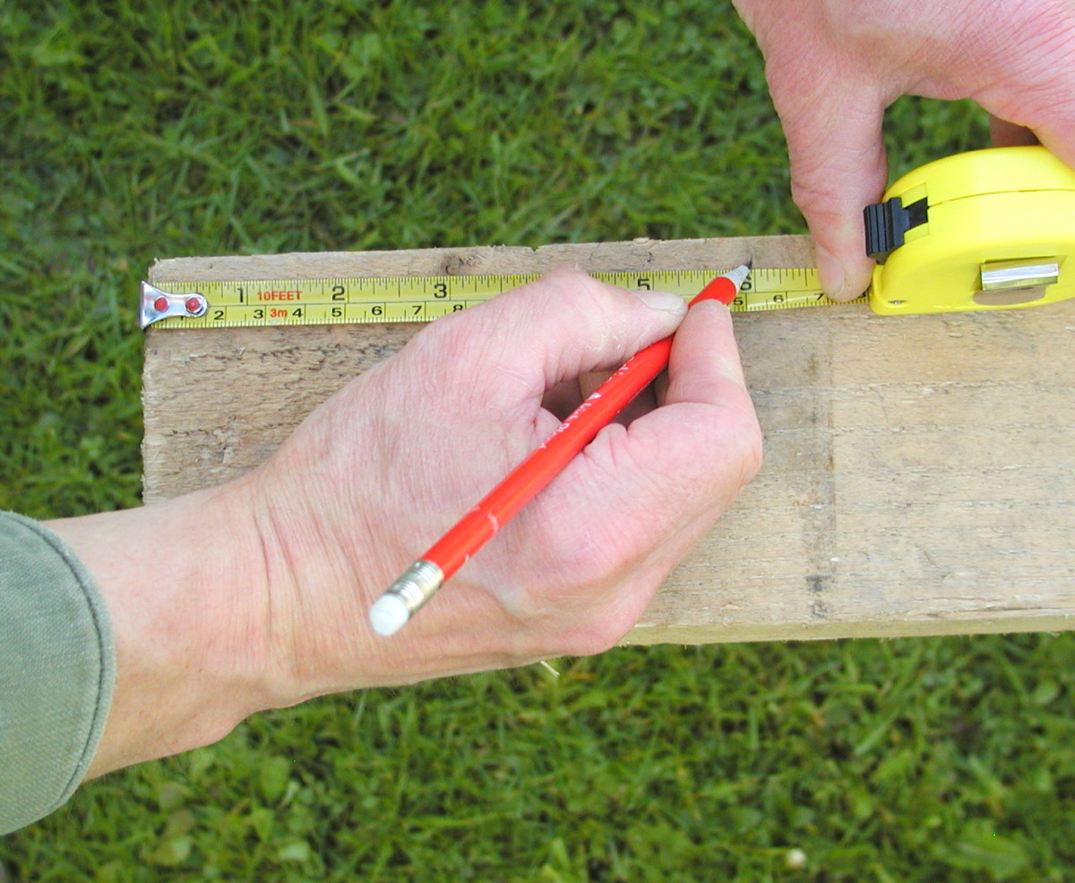 Mark the required measurement on the timber with a short pencil tick