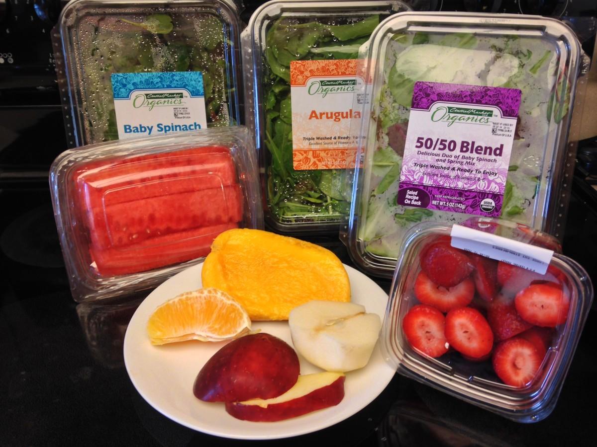 Baby Spinach, Baby Arugula, Mixed Greens, watermelon, mango, apple, orange, pear, and strawberries