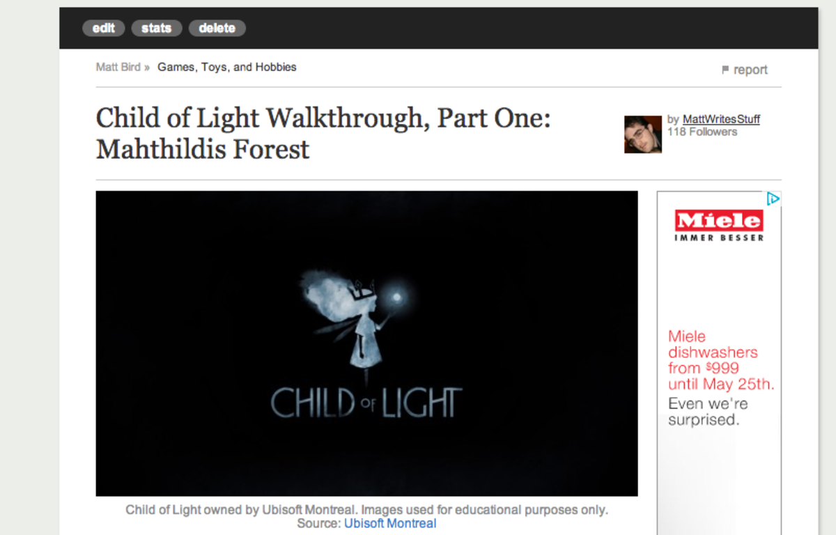 Most images taken from snapshots of HubPages.com, TextEdit, and Child of Light. Child of Light owned by Ubisoft Montreal. Images used for educational purposes only.