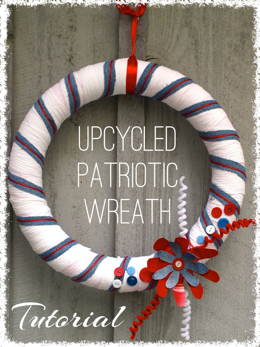 Upcycled wreath perfect for Memorial Day or the Fourth of July.  Made from a pool noodle, a repurposed blouse, old jeans, and a few other things from around the house.