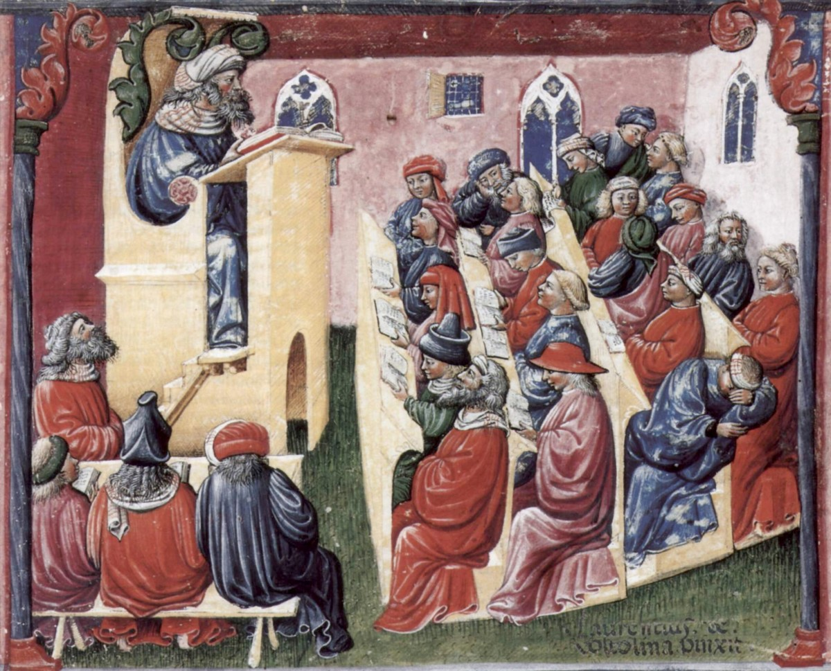 A university classroom in 14th Century Italy.