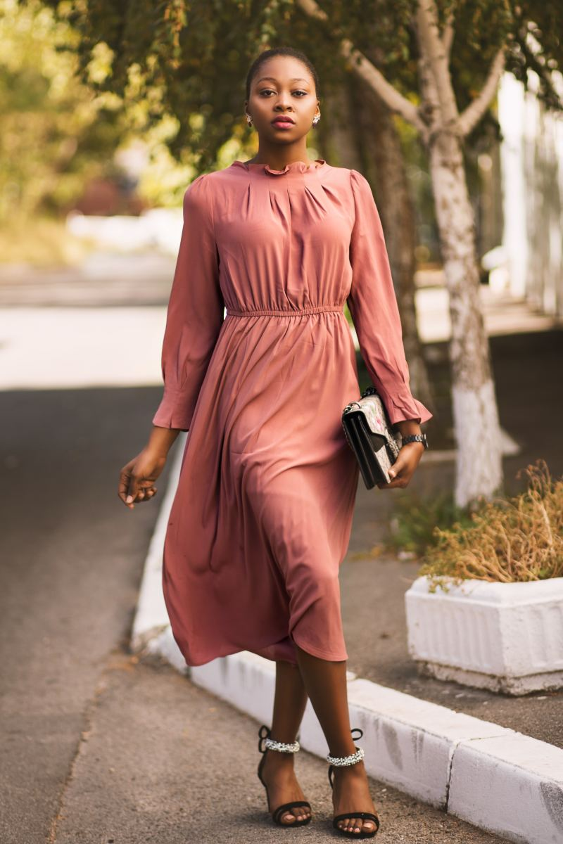 Beautiful dusty-rose dress that would be perfect attire for a wedding guest.