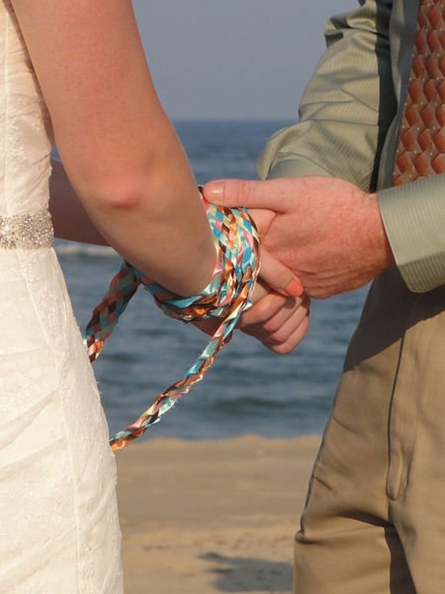 Handfasting ceremony on the beach.