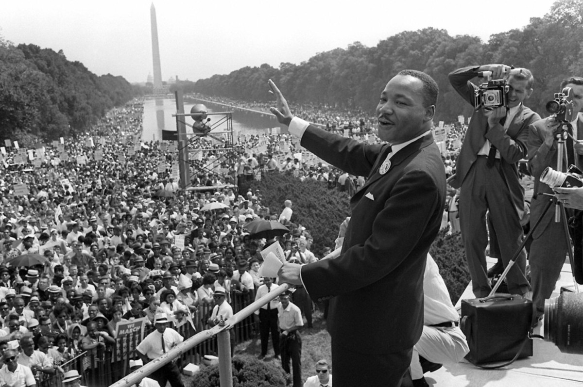 "Martin Luther King, Jr. giving ""I Have a Dream"" speech at March on Washington in 1963"