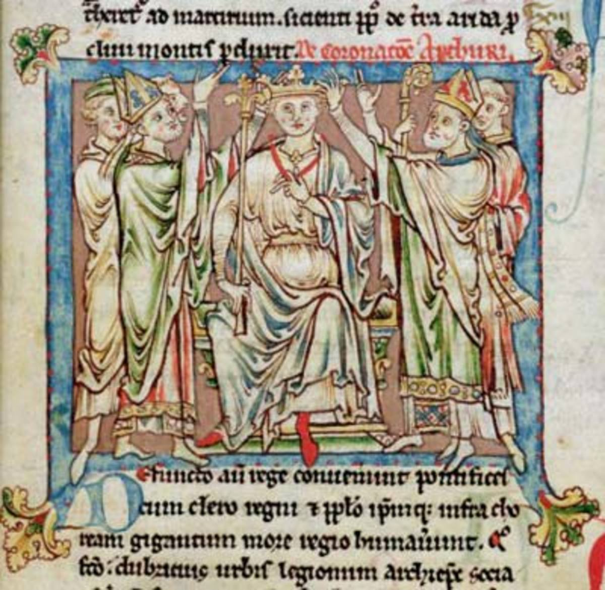 "King Arthur, miniature from ""Flores Historiarum,"" by Matthew Paris, c.1250-52 (vellum)"
