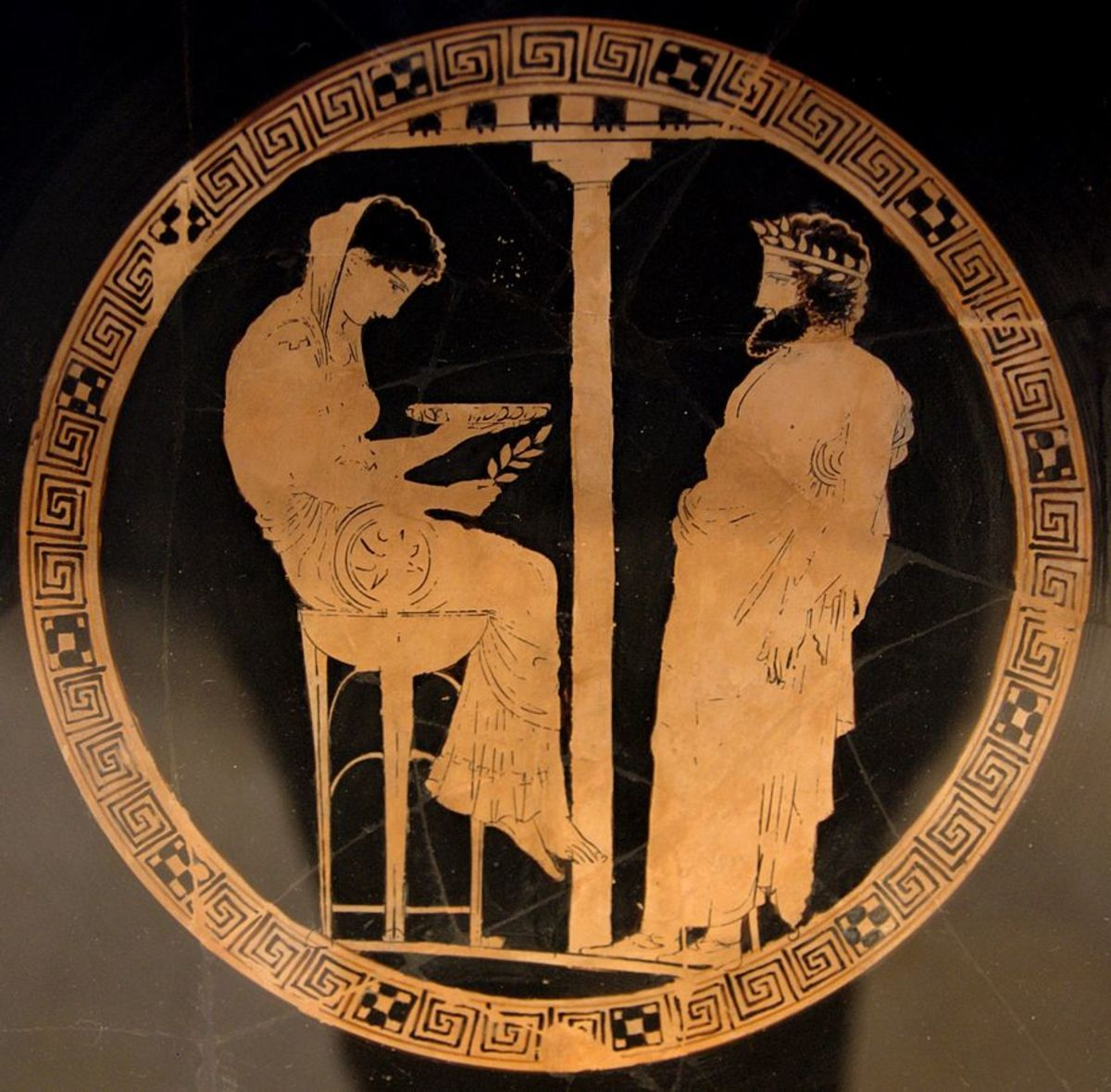 Aegeus consulting the Oracle. A red figure kylix from 440-430 BCE by the Kodros Painter.