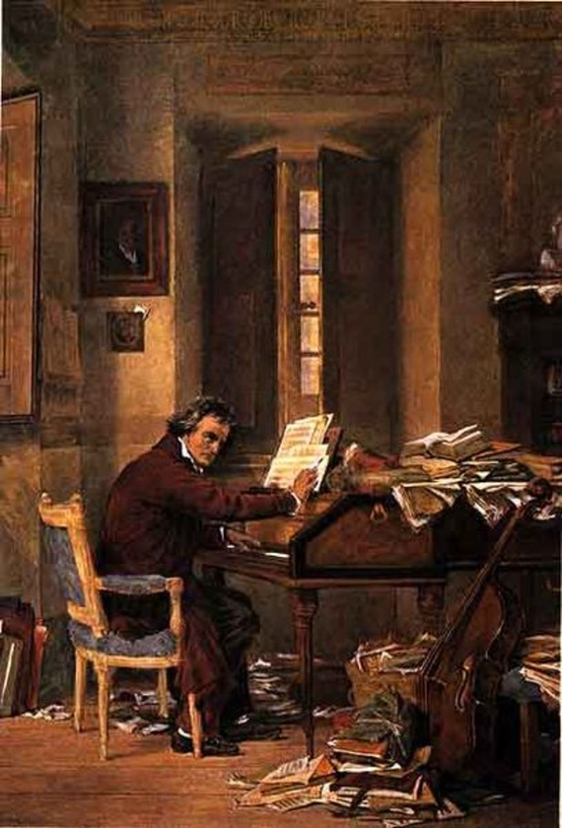 A painting of Beethoven in his home working at his piano